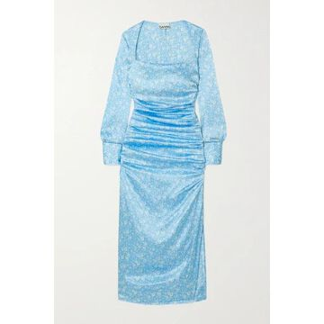 GANNI - Ruched Floral-print Stretch Silk-satin Midi Dress - Blue