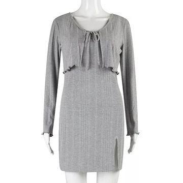 Juniors' Speechless Bodycon Dress & Sweater Set, Girl's, Size: Large, Grey