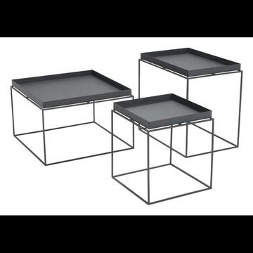 Zuo Modern 101160 Gaia 3 Piece Steel Top Steel Nesting Tray Table Set Black Indoor Furniture Tables Accent
