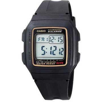 Casio Men's Multi-Function Alarms Digital Sport Watch, Black and Gold F201WA-9A