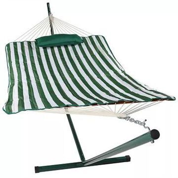Sunnydaze Striped Rope Hammock with Stand in Green