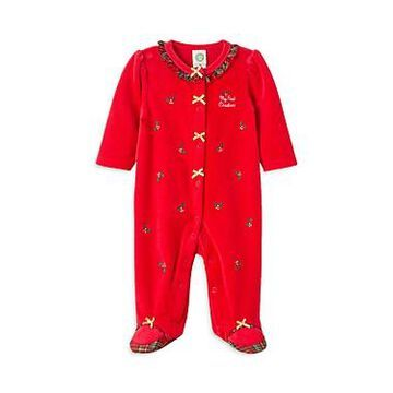 Little Me Girls' Holly Plaid Velour Footie - Baby