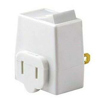 Leviton C27-01469-00W 13 Amp 125 Volt White Plug In Outlet Switch Tap