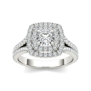 De Couer 14k Gold 1ct TDW Diamond Double Halo Engagement Ring