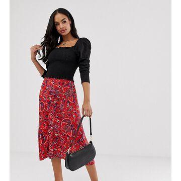 Y.A.S button down paisley print midi skirt-Purple