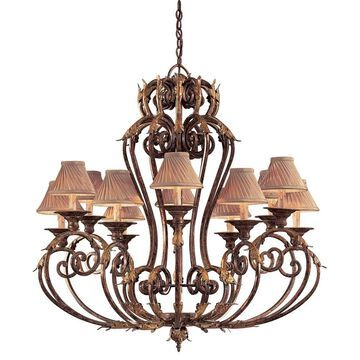 Zaragoza Golden Bronze 12 Light Chandelier By Minka Metropolitan