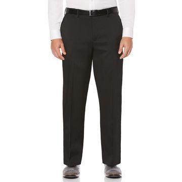 Big & Tall Savane Straight-Fit Crosshatch Stretch Flat-Front Dress Pants
