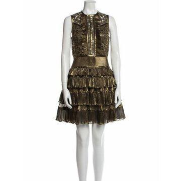 Lace Pattern Mini Dress w/ Tags Gold