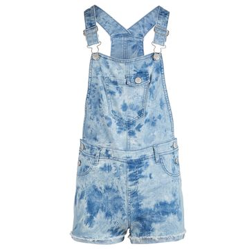Big Girls Tie-Dyed Denim Shortalls, Created for Macy's
