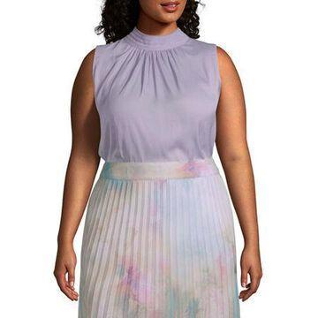 Worthington Womens Sleeveless Yoryu Neck Shell - Plus