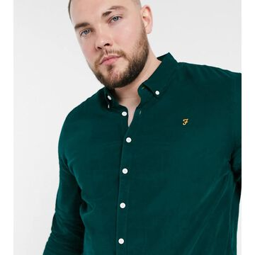 Farah Fontella slim fit shirt with baby cord logo in dark green