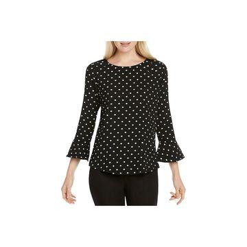 Foxcroft Womens Polka Dot Bell Sleeves Blouse