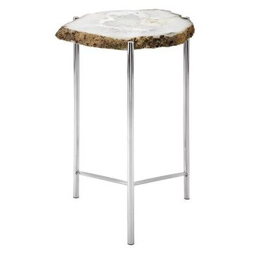 Imax Stone And Steel Accent Table With White Finish 14886