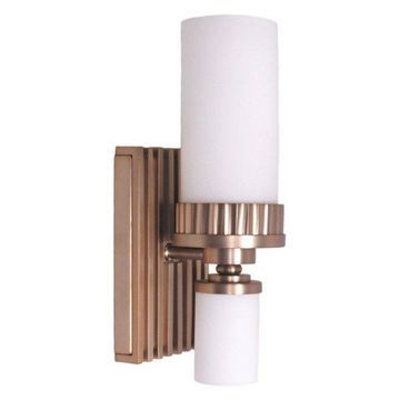 Burnished Brass and White Glass 2-Light Wall Sconce