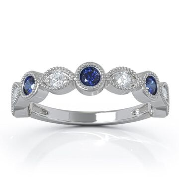 14K Gold Blue Sapphire & Diamond (0.12 Ct, G-H Color, SI2-I1 Clarity) Milligrain Wedding Band by Noray Designs