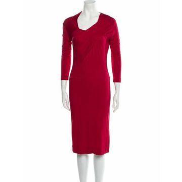 Cowl Neck Midi Length Dress Red