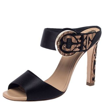 Rene Caovilla Black Satin Embellished Buckle Sandals Size 37.5