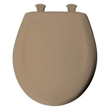 Bemis 200SLOWT 148 Plastic Round Slow-Close Toilet Seat, Sand
