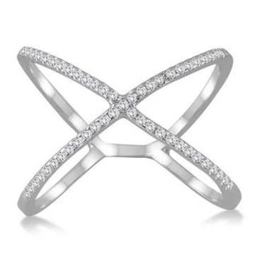 Marquee Jewels 10k White Gold 1/2CT Diamond Criss Cross X Ring (8)