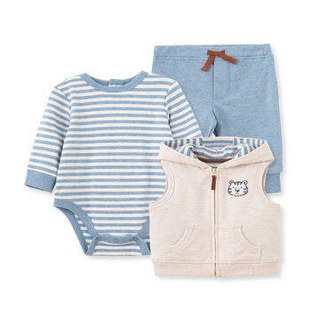 Little Me& 3-Piece Tiger Bodysuit, Pants, and Vest Set in Blue