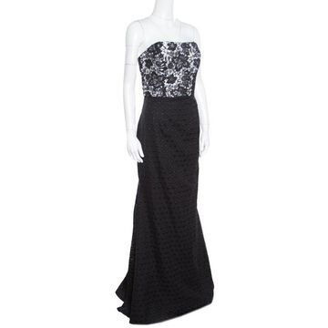 ML by Monique Lhuillier Monochrome Floral Lace Bodice Detail Flared Strapless Gown M