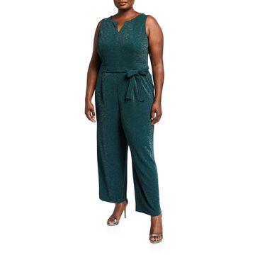 Plus Size Split-Neck Jumpsuit