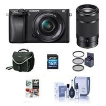 Sony Alpha A6000 Mirrorless Digital Camera with 16-50mm f/3.5-5.6 OSS 55-210mm f/4.5-6.3 OSS Lenses Black - Bundle With 16GB SDHC Card, Camera Bag, 49mm Filter Kit, Cleaning Kit, PC Software package