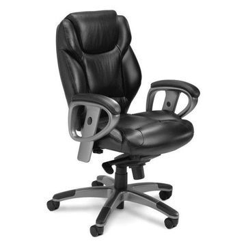 Mayline Ultimo Executive Mid Back Leather Office Chair in Black