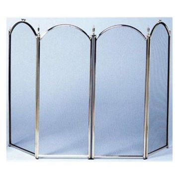 Uniflame 4-Fold Polished Brass Screen, S-2113