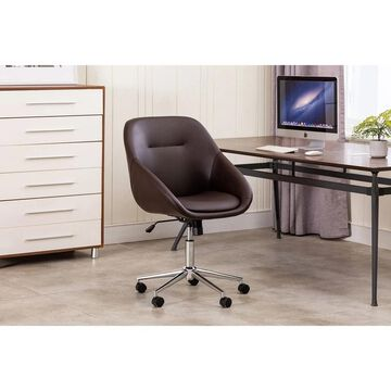 Porthos Home Hayes Swivel Office Chair, Chrome Base, PU Leather