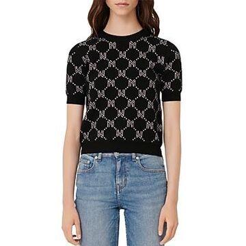 Maje Mina Monogram Jacquard Sweater