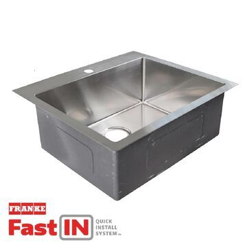 Franke Fast-In Dual-mount 25.5-in x 22.5-in Stainless Steel Single Bowl 1-Hole Kitchen Sink | HFS2522-1