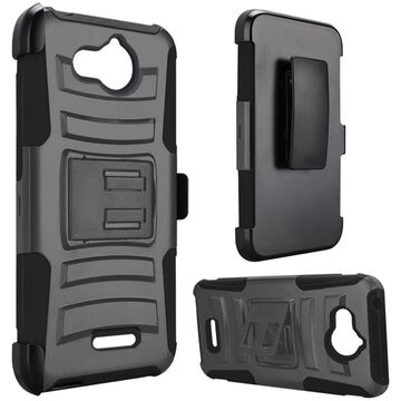 Insten Dual Layer [Shock Absorbing] Hybrid Stand Hard Snap-in Case Cover Holster For Tetra, Gray/Black