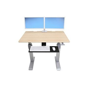 Ergotron WorkFit-DL 48, Sit-Stand Desk (Maple) - Maple Rectangle Top - 2 Legs x 48