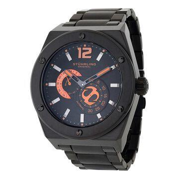 Stuhrling Original Men's Esprit D'Vie Automatic Leather Strap Watch - Black