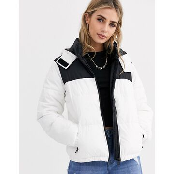 New Look color block puffer in white pattern