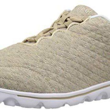 Propet Women's TravelActiv Woven Sneaker, Beige Quilt, 7 Medium US