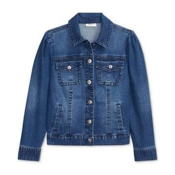 Style & Co Puff-Shoulder Denim Jacket, Created for Macy's