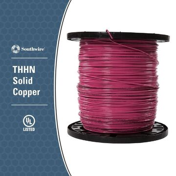 Southwire 2500-ft 12-AWG Solid Pink Copper THHN Wire (By-the-Roll)
