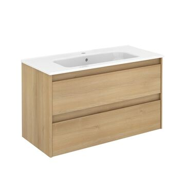 WS Bath Collections Ambra 40-in Nordic Oak Single Sink Bathroom Vanity with Ceramic White Ceramic Top in Brown   AMBRA 100 NO