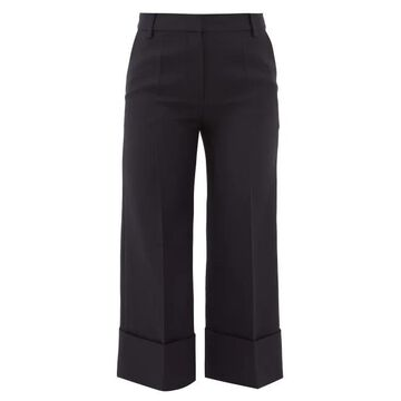 Valentino - High-rise Wool-blend Cropped Trousers - Womens - Navy