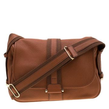 Hermes Brown Clemence Leather Bourlingue Messenger Bag