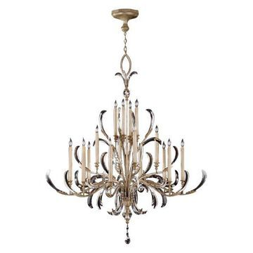 Fine Art Lamps 739640ST Beveled Arcs Silver Leaf 16 Light Chandelier