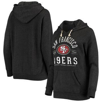Women's San Francisco 49ers Majestic Threads Black Field Goal Tri-Blend Raglan Pullover Hoodie