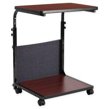 Flash Furniture Adjustable Mobile Computer Desk in Mahogany