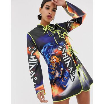 Jaded London tie front dress with anime graphics