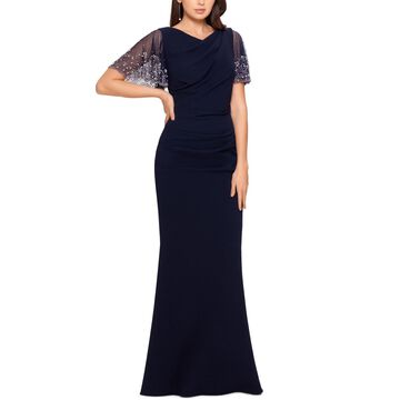 Betsy & Adam Beaded-Sleeve Gown