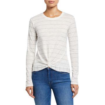 Stripe Long Sleeve Twist Front Top