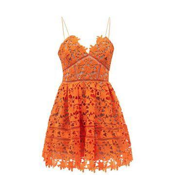 Self-portrait - Flared Macrame And Ladder-lace Mini Dress - Womens - Orange