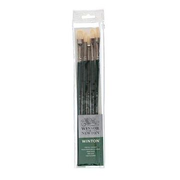 Winsor & Newton Winton Natural Brush: Long Handle - Asst Sizes - 5 pieces